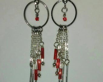 Angled Fringe Hoops - with red bugle beads and sterling tube beads.