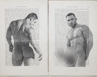 Gay erotic poster  / Muscle man cock & buttocks / 2 pages printing Antique  German book  decor interior picture ART erotic
