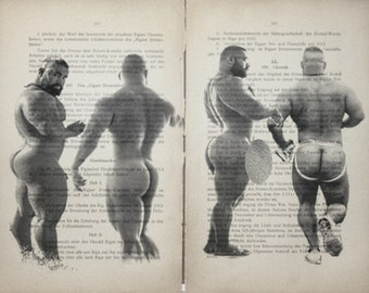 Erotic Gay poster / Muscle male buttock/ Printing 2 pages Antique German  book decor interior picture ART erotic