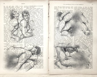 Erotic Gay poster / japanese mens love / nude men body drawing  / 2 pages Printing Antique german book  decor interior picture ART erotic