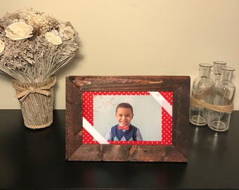 Rustic Picture Frame, 4x6 Picture Frame, Rustic Frame, Wood Frame, Mantle Decor, Country Picture Frame, Color Fabric, Horizontal Frame