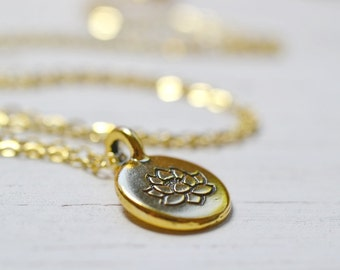 Gold Lotus Necklace, Golden Lotus Meditation Charm, Buddhism Spiritual Yoga Jewelry,  Lotus and Bliss