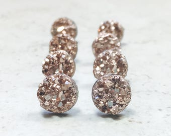 Set of 4 Rose Gold Bridesmaids Earrings, 4 Pairs with Gift Boxes, Tiny Rose Gold Faux Druzy Earrings, Small  8mm Round Studs Wedding Jewelry