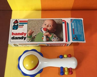 Vintage Baby Rattle of Ambitoys Made in Holland Handy Dandy 1979 Original Packaging
