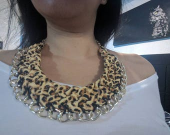 Braided leopard print necklace, Statement necklace, chunky bib necklace