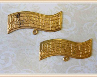 raw brass music charm, vintage  12 pieces E0105
