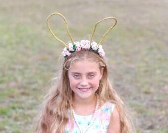 Gold floral bunny headband