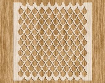 """Dragon Scale EXTRA Small Pattern Stencil MINI SERIES - Sku AP0109M (5.5"""" x 5.5"""")"""