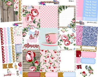 VERTICAL KIT, Smell The Roses, Weekly Kit, EC Vertical, Planner Stickers, Sticker Kit, Roses, Stickers