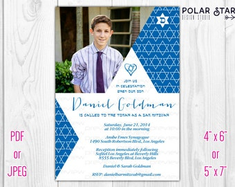Bar Mitzvah or Bat Mitzvah - Custom Modern Invitation, Photo Card - Printable Digital File (086)