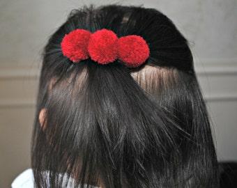 Red pom pom hair clip, Christmas pom pom hair clip