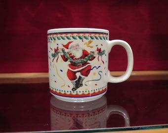 Christmas Mug With Birds and Santa Claus Dancing Happy Vitromaster Genuine Stoneware SALE
