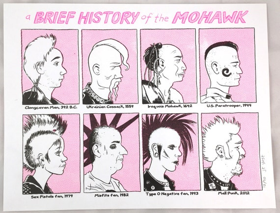 """Risograph print """"A Brief History of The Mohawk"""" by J.T. Yost"""