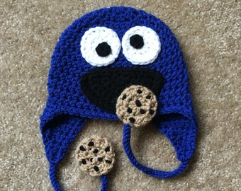 Cookie Monster Hat, cookie Monster Crochet Hat, Newborn Cookie Monster Hat