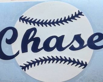 Personalized Glossy Vinyl Decal, Baseball
