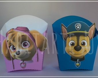 Boxes confectioners popcorn Paw patrol patrol dog print and cut silhouette cameo
