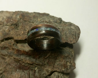 Crushed Opal in Ebony Bentwood ring