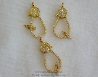 Medium Gold Plated Lobster Claw Clasp and Pave Jump ring  13 mm x 35 mm Connector bead chain necklace Cubic Zirconia Paved CZ Findings