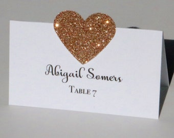 10 Rose gold place cards, Wedding Place Cards, Rose Gold Glitter Place Cards, Rose Gold heart Place Cards, white place cards, place cards