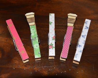 Set of 5 clothespins, Chip Clips, Magnetic, Fridge Magnet, Coffee Mug Charm, Embellishment
