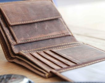 Handmade Distressed Leather Wallet, Men's Leather Wallet, boyfriend Gift, Husband Gift, Leather Wallet, Groomsman Gift, Distressed Wallet