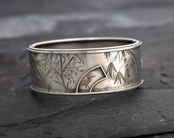 Antique Victorian Silver Cuff Bracelet in the Aesthetic or Japonesque Style circa 1880