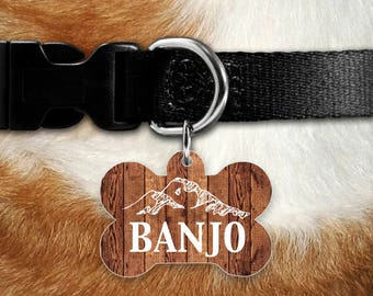 Personalized Dog Tag, Dog ID Tag, Customized Dog Tag, Pet ID, Dog Name Tag, Dog Identification Tag, Pet Dog Tag, Rustic Faux Wood Dog Tag