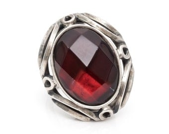 Romantic Vintage Ring with Red Facet Stone with Sterling Silver, VJ #724