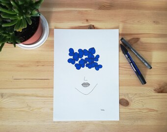 Original drawing made with pen and felt-tip pen, woman illustration portrait in black and blue