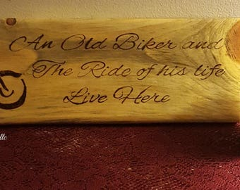 An Old biker and the ride of his life live here-Motorcycle decor-motorcycle signs-motorcycle gifts-Gifts for him-Fathers day gift-home decor