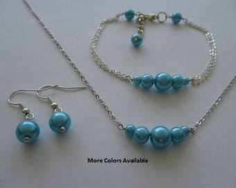Aquamarine Blue Pearl Jewelry Set-Jewelry Set-Bridesmaid Jewelry Set-Bridal Party Jewelry-Wedding Party Jewelry Set-Prom Jewelry Set, S946