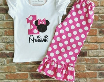 First Birthday Applique Shirt and Ruffle Pants OR Short Set, Pink polka dots, Girl Mouse themed