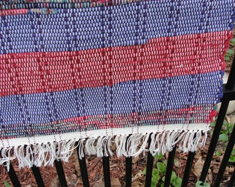 "Hand Woven Rag Rug Red Blue Multi Measures  25"" x 41"" Item # 3829"