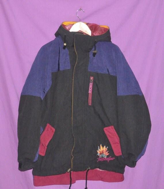 Vintage 90s Techno Gear Descente Houndstooth Hoodie Zipper Jacket Coat Size Medium Large Snowboard Skiwear Hip Hop Rap Winter V0mATb