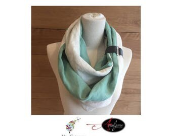 Ocean and leather strap blue linen scarf