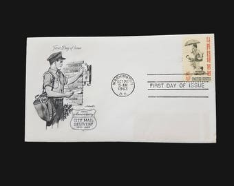 1963 FDC 5c City Mail Delivery - Scott 1238 - 5 cent stamp First Day Issue