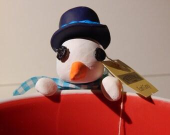 Snowman Tea Holder (5cm tall) Made To Order