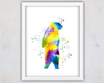 Bear Nursery Print, Bear Wall Print, Digital Art Print, Nursery Grizzly Bear Art Print, Nursery Wild Animal Print, Instant Digital Print