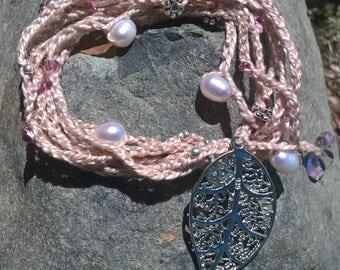 Fresh Water Pearls and Pink  Swarovski crystal Bohemian Necklace/Bracelet