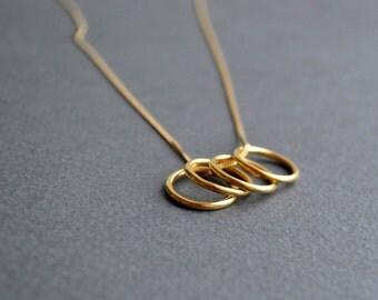 Gold Circles Necklace   Minimalist Pendant Necklace   Gold Circle Necklace