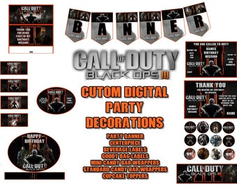 Call of Duty Black Opts 111 Custom Digital Party Invitations, Thank You and Decorations, Banner and More