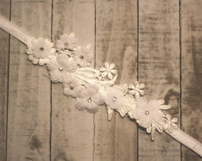 Floral Wedding Garter, rhinestone garter, tropical garter, lace and flower garter