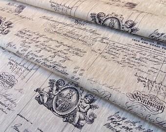 Fabric patterns beige Cherub black - dimension for 1 quantity 50 cm x 150 cm - 100% linen