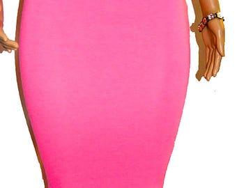 Neon Pink Extra Long Pencil Midi Skirt