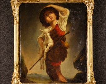Antique French painting Shepherd boy with goat of the 19th century