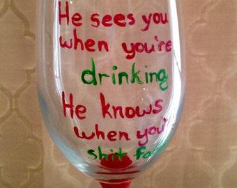 Naughty Christmas Wine Glass, Naughty, Hand Lettering, Single Glass