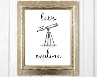 Scientist Telescope Wall Art Printable - Modern Art Nursery Decor / Astronomy Wall Art - Instant Printable Digital Download diy