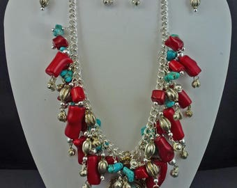 East Meets West~Red Bamboo Coral & Turquoise Nuggets Bib Necklace