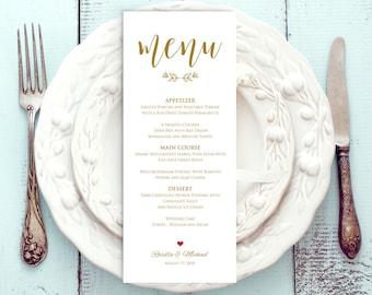 Gold Wedding Menu Template, Rustic Wedding Menu, Menu Printable, Menu Cards, Rustic Wedding, Wedding Dinner Menu, PDF Template, WPC_359