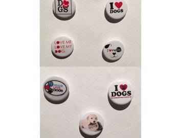 Dogs - I love Dogs - Set of 7 badges